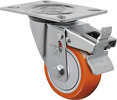 "Schioppa L12 Series, GL 312 UPE G, 3 x 1-1/4"" Swivel Caster with Total Lock Brake, Non-Marking Polyurethane Precision Ball Bearing Wheel, 175 lbs, Plate 3-1/8 x 4-1/8"" (Bolt Holes 3-1/8 x 2-1/4"")"