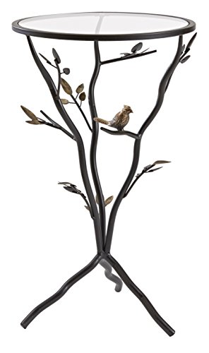 InnerSpace Luxury Products Glass Bird (Bronze Leaf Accents Table Lamp)