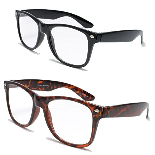 2 Pairs Deluxe Wayfarer Style Reading Glasses - Comfortable Stylish Simple Readers Rx Magnification (1 tortoise 1 black, 1 x)