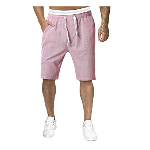 HCFKJ Men Shorts Summer Cycling Underwear Trousers Men's Fashion Casual Purely Color Stitching Drawstring Slim Home…