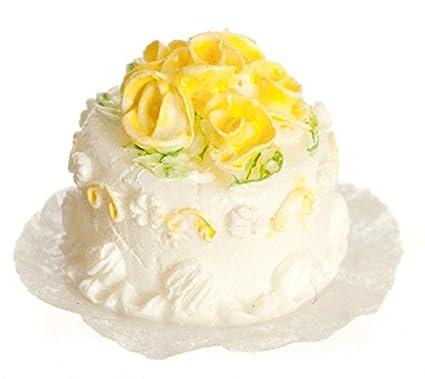 Amazon Com Dollhouse Miniature 1 24 Scale White Cake With Yellow