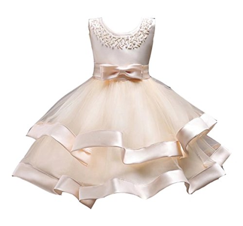 Beautiful Gown (Oukaiyi Girls Lace Bridesmaid Dress Wedding Pageant Dresses Tulle Party Gown Age 4-7Y(Champagne,5Y))