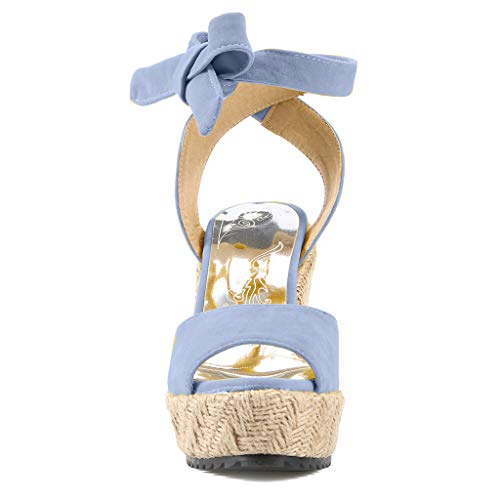 Womens Lace up Platform Wedges Sandals Classic Open Toe Ankle Strap Shoes Espadrille Sandals Blue by sweetnice Women Shoes (Image #4)