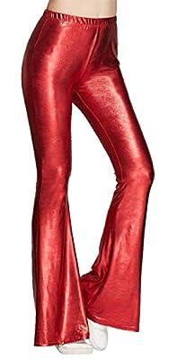 Tamskyt Womens Wide Leg Shiny Liquid Metallic Bell Botton Flared Palazzo Pants