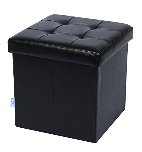 "Fsobellaleo Folding Storage Ottoman Footrest Stool for Baby Faux Leather Seat Chest Black 12.6""X12.6""X12.6 from Fsobellaleo"
