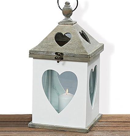 Gartendeko Shabby compra farol portavelas con corazón de madera vela gartendeko shabby