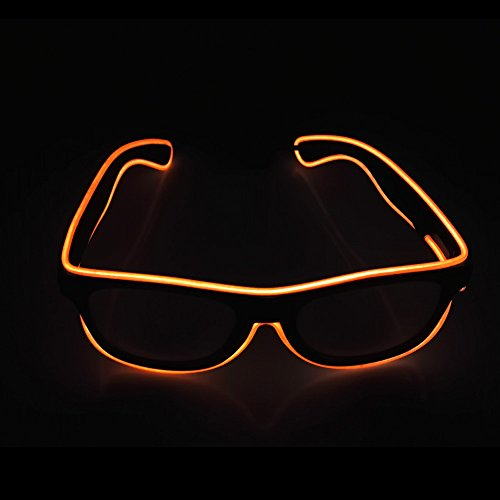 Light Up EL Wire Glasses Sound Active LED Glasses with Dark Lens for Costume Party Festival,Party Concert(Orange) (Voice Orange Tube)