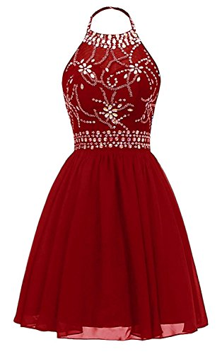 HeleneBridal Women's Beaded Halter Homecoming Cocktail Dresses 2018 Chiffon Prom Dresses (Beaded Halter Cocktail Dress)