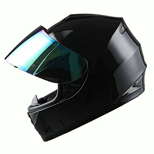 (WOW Motorcycle Full Face Helmet Street Bike BMX MX Youth Kids Glossy Black)