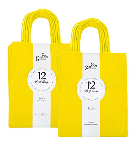 24CT MEDIUM YELLOW BIODEGRADABLE, FOOD SAFE INK & PAPER, PREMIUM QUALITY PAPER (STURDY & THICKER), KRAFT BAG WITH COLORED STURDY HANDLEs (Medium, Yellow)