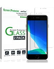 "amFilm Glass Screen Protector for iPhone SE 2020, iPhone 8, 7, 6S, 6 (4.7"")(2 Pack) Halo Free Tempered Glass Screen Protector (2020)"