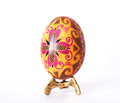 Pysanka egg Ukrainian chicken egg painted in Bright Yellow Pink colors great Mother's Day gift, can be personilized