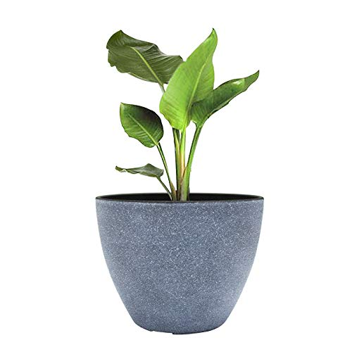Outdoor Planters,Flower Pots Outdoor Indoor Resin Planter with Drain Hole,Gray(8.6 inches, Pack 1) ()