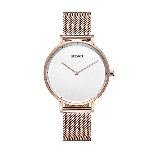Amazon.com: New READ Women Quartz Watches with Mesh Steel Band Waterproof Wristwatch Best Valentines Day Gift for her R6005 (Rose White): Watches