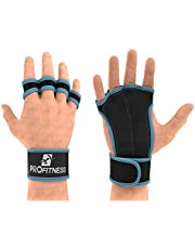ProFitness Ventilated Cross Training Gloves with Wrist Support - Split Leather with Silicone Padding for Strong Grip + Protection from Injury - for Gym Workout, Weightlifting, Powerlifting & WOD