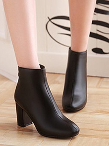 Boots Aisun Low Sexy Femme Bottines Couleur Unie Noir BBqgU1w8