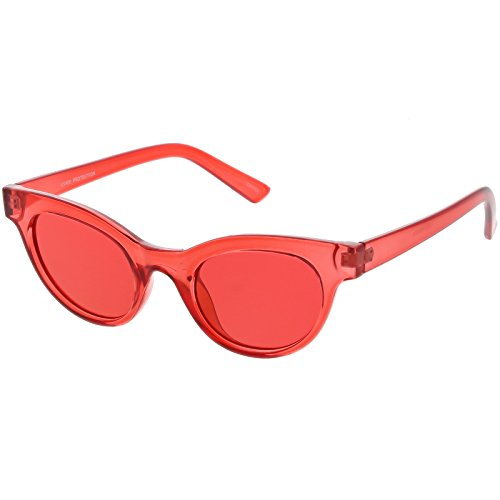 sunglassLA - Women's Transparent Cat Eye Sunglasses Horn Rimmed Color Tinted Round Lens 47mm (3 - Red / - Rimmed Eyes Red Cats