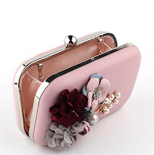 Fleur WBAG Femmes PU Robe Sacs De Pochette Sac Main Mariage Soirée Épaule pink À B0wBqHxr