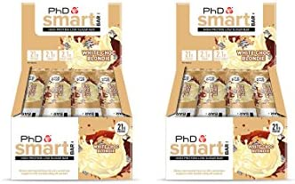 PhD Smart Bar High Protein Low Carb Bar, White Chocolate Blondie, 2er Pack (2 x 12 Stück) 24 bars x 64 g