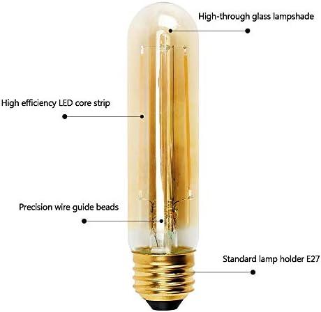 Aurora Vintage Led Bombilla E27 4w, equivalente a bombillas incandescentes 40W Retro T30 220V Bombilla Edison Lámpara de filamento decorativa antigua Blanco cálido Paquete de 6
