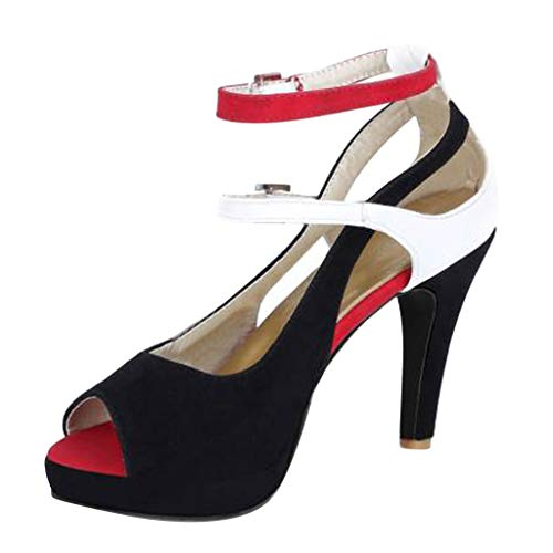 Women Peep Toe Pumps,Ladies Summer Casual Party Outdoor Ankle Straps High-Heels Sandal - Pumps Bejeweled