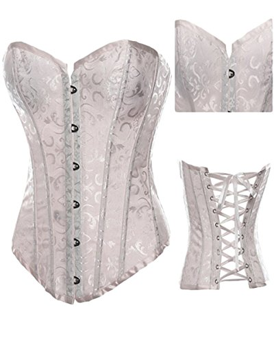 Sue Shop Womens White Floral Overbust Lace up Corset/Bustiers,White,XXL