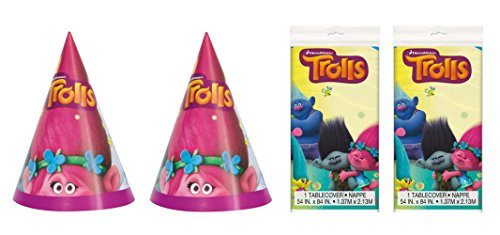 """2 Packs of 8 Unique Trolls Party Hats and 2 Packs of Unique 54"""" x 84"""" Trolls Plastic Table Cover Bundled by Maven Gifts"""