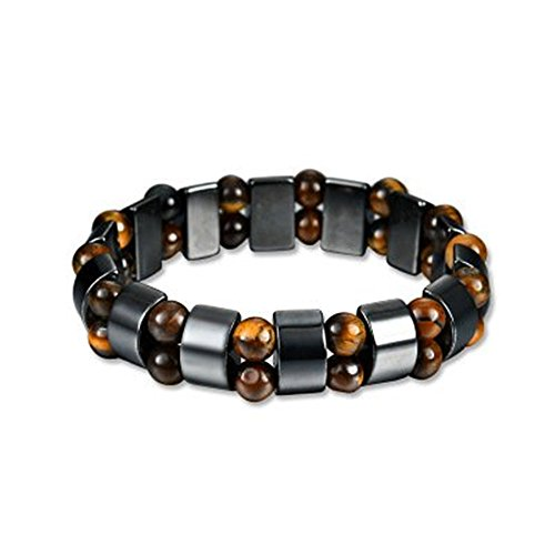 Vintage Magnetic Hematite Therapy Bracelet for Men and Women Beads Wristband Healing Bracelet Gifts for Birthday Valentines Parents (Valentine Gift For Men)