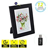 Hidden Spy Camera Photo Frame HD Recorder with Night Vision & Motion Detection Wireless Nanny Cam for Home Office Security(32GB SD Card Included)
