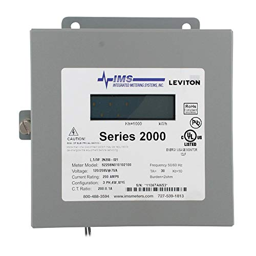 Leviton 2N208-21 Sub-Meter Series 2000 Three Element Meter 200:0.1A ratio, Max 200A Indoor Surface Mount Enclosure