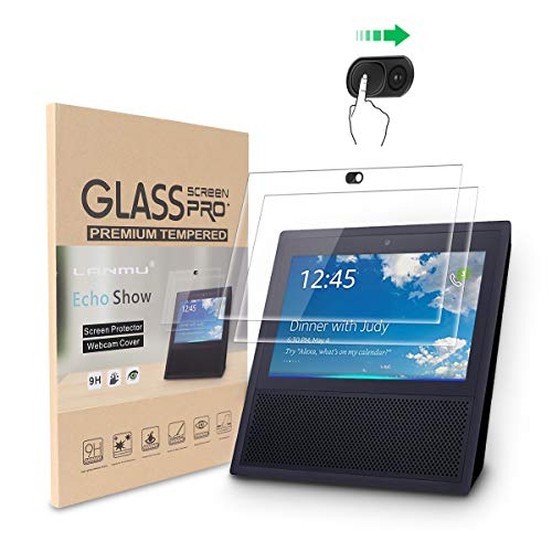 LANMU Screen Protector Webcam Cover for Echo Show,High Definition Screen Protector for Echo Show 1st Generation with Webcam Cover (2 Screen Protector and 1 Webcam Cover)