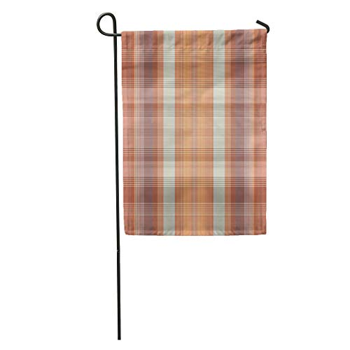 Semtomn Garden Flag Modern Abstract Brown and Orange Check Tartan Checkered Color Garment Home Yard House Decor Barnner Outdoor Stand 12x18 Inches Flag