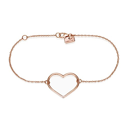 SEVEN50 Made in Italy Heart Charm Bracelet Rose Gold Extremely Durable 9k Rose Gold Real Classic Gift - Heart Bracelet 9k