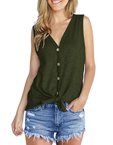 IWOLLENCE Womens Loose Henley Blouse Sleeveless Button Down T Shirts Tie Front Knot Tops Army Green -