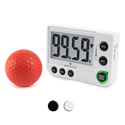 MARATHON TI030016WH Large Display 100 Minute Count UP/Down Timer with Adjustable Volume and Flashing Light Feature. Great for Visually or Hearing Impaired (White) -