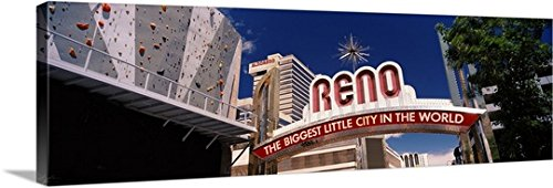 Canvas On Demand Premium Thick-Wrap Canvas Wall Art Print entitled Low angle view of the Reno Arch at Virginia Street, Reno, Nevada - Virginia Reno