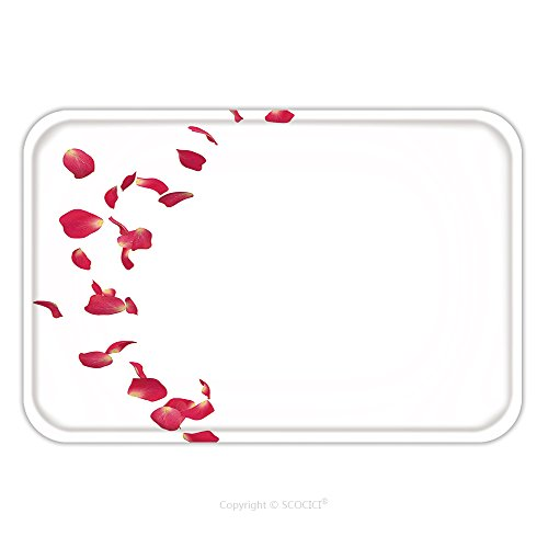 Rose Petal Place Costume (Flannel Microfiber Non-slip Rubber Backing Soft Absorbent Doormat Mat Rug Carpet The Red Rose Petals Are Flying In A Circle On Isolated White Background There Is A Place For Your 400831489 for Indoor/)