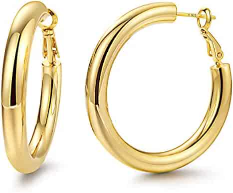 Hoop Earrings 24K Gold Plated 925 Sterling Silver Post 5MM Thick Tube Very Lightweight Hoops for Women And Girls