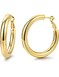Hoop Earrings 18K Rose Gold Plated 925 Sterling Silver Post 5MM Thick Tube Very Lightweight Hoops for Women And Girls
