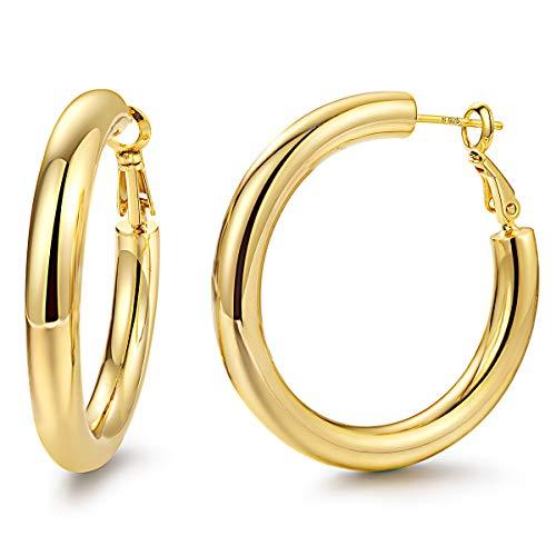 Hoop Earrings 24K Gold Plated 925