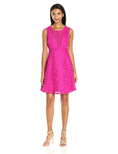 Adelyn Rae Women's Loretta Fit and Flare, Fuschia, S by Adelyn Rae