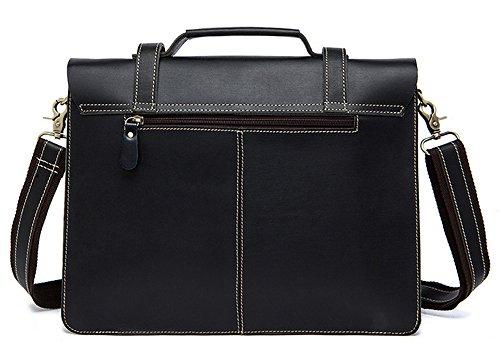 Xinmaoyuan Hombre de bolsos de cuero de caballo loco Retro hombres Bolso Messenger Bag Bolso negro maletín hombres, Negro