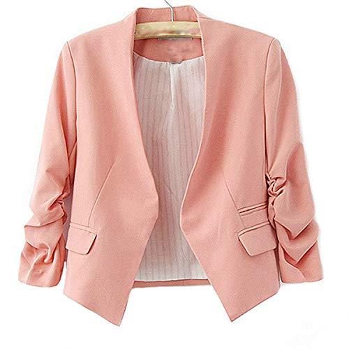 Molif Hot Women's Korea Style Candy Color Solid Slim Suit Long Sleeve Blazer Jacket Pink M