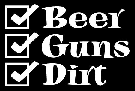 Beer Guns Dirt Hunting Vinyl Decal Sticker|Cars Trucks Vans Walls Laptops|WHITE|5.5 In|KCD592