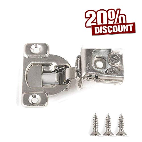 "Soft Close Hinge 1-1/4"" Cabinet Door Hardware Compact Overlay Hinges for Frameless Face Frame Nickel Plated - 10 Pack"