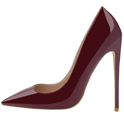 Women's High Heel Stiletto Pointed Toe Pumps (Red) - 5