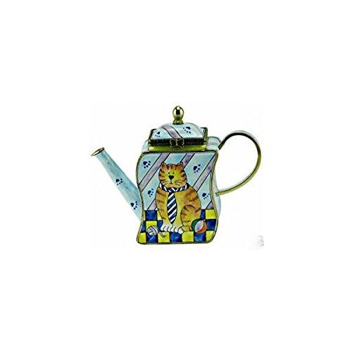 Kelvin Chen Enameled Miniature Tea Pot- Cat with Tie
