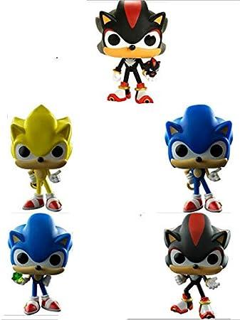 XINKANG Sonic Cartoon Juguetes 5 Unids / Set Original Super Sonic Sonic con Anillo / Esmeralda Shadow Collectible Model PVC Figura De Acción Juguetes para Niños