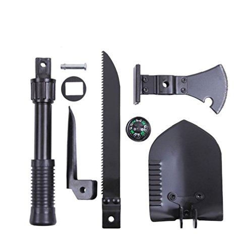 CSG Sport Service Black 5 in 1 Multi Purpose Camping Boy Scout Tool Shovel Saw Axe Hammer Pickaxe