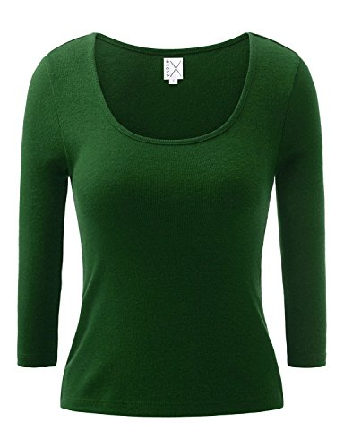 Regna X NO BOTHER Women's Long Sleeve Round Neck Slit Slim-Fit T-shirt